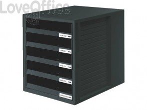 Cassettiera SCHRANK-SET HAN in polistirolo con 5 cassetti aperti nero 1401-13