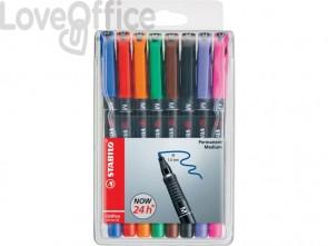 Penne Stabilo OHPen universal Medio (M) 1 mm assortiti - 843/8 (astuccio da 8)
