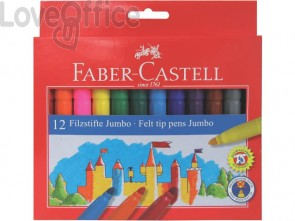 Pennarelli Faber-Castell CASTELLO Jumbo punta grossa 5 mm assortiti astuccio di cartone da 12