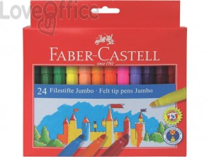Pennarelli Faber-Castell CASTELLO Jumbo punta grossa 5 mm assortiti astuccio di cartone da 24