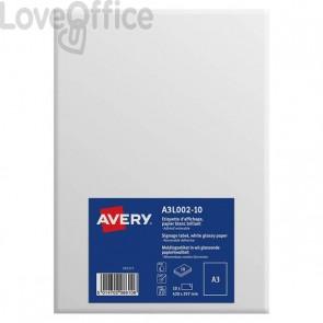 Etichette A3 carta bianca Avery - da -40ºC a +50ºC - 297x420 mm - A3L002-10 (conf.10)
