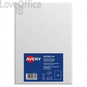 Etichette A3 in poliestere Avery - da -7ºC a +60ºC - 297x420 mm - A3L003-10 (conf.10)