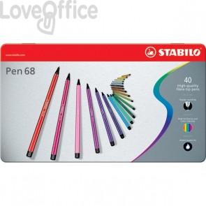 Pennarellini colorati Stabilo Pen 68 in Scatola metallo 2 ripiani - assortiti - 1 mm - da 7 anni (conf.40)