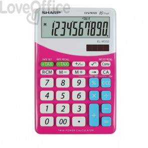 Calcolatrice da tavolo EL-M332B a 10 cifre Sharp - rosa - SH-ELM332BPK