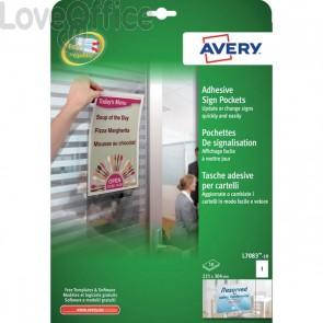 Tasche adesive in plastica trasp. per cartelli Avery - 221x304 mm - 1 etich/ff - L7083-10 (conf.10 fogli)