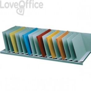 Sistema multiblocco Paperflow - Reggilibri con separatori fissi inclinati - grigio - 4939.02