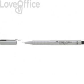 Penna punta in fibra Faber-Castell fusto grigio, inchiostro nero 166099