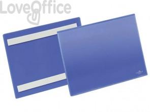 Tasche per identificazione Durable con bande adesive blu f.to esterno mm. 223x 163x1,7- inserto A5 orizz. cf 50- 179507