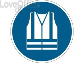 """Pittogramma da pavimento """"Gilet di sicurezza alta visibilità obbligatorio"""" Durable azzurro Ø 430 mm - 173506"""