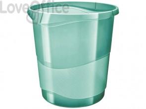 Cestino gettacarte Esselte Colour'Ice polistirene verde trasparente 14 litri 626290