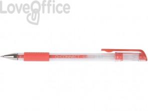 Penna a sfera inchiostro gel Q-Connect con cappuccio 0,35 mm rosso conf. da 10 - KF21718