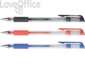 Penna a sfera inchiostro gel Q-Connect con cappuccio 0,35 mm nero KF21716