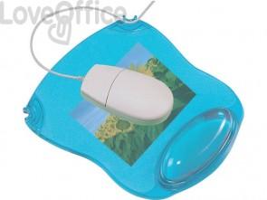 Tappetino per mouse Q-Connect con poggiapolsi in gel 22x26x2,8 cm blu trasparente - KF20085
