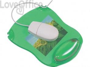 Tappetino per mouse Q-Connect con poggiapolsi in gel 22x26x2,8 cm verde trasparente - KF20086