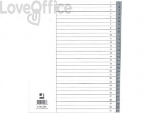 Divisore numerico Q-Connect grigio XL 24,5x29,7 cm ppl 1-31 KF02296