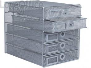 Cassettiera 5 cassetti Q-Connect 35x27x31 cm argento KF00834