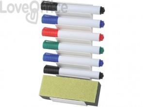 Supporti per lavagne bianche Q-Connect - 1 cancellino + 6 pennarelli colori assortiti
