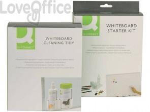 Contenitore detergenti per lavagne bianche Q-Connect con 100 salviette e liquido detergente da 250 ml - KF00291A