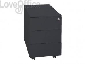 Cassettiera in metallo nera 3 cassetti su ruote KUBO 3 Bertesi