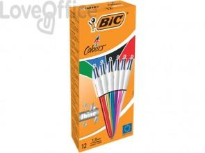 Penne a sfera a scatto BIC 4 Colours Shine M 1 mm assortiti (conf.12)