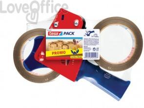 Dispenser per nastri adesivi tesa PROMOPACK tendinastro con 2 nastri avana rosso/blu - 57455-00001-01