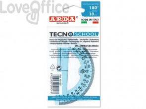 Goniometro ARDA Linea Tecnoschool polistirolo termoresistente azzurro trasparente 180° 10 cm - 404SS