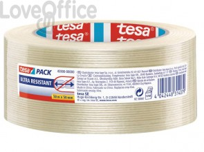 Nastro adesivo per la spedizione con fibre di vetro rinforzato trasparente Tesa mono-filament - 50 mm x 50 m - 04590-00002-00