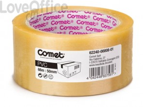 Nastro adesivo per la spedizione Comet n PVC con adesivo in gomma naturale 50mmx66m bianco - 62240-00008-01