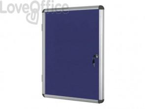 Bacheca in feltro Bi-Office Enclore con cornice in alluminio 4xA4 blu VT610107150