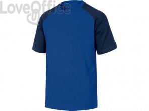 T-Shirt Mach Delta Plus bicolore girocollo manica cotone azzurro-blu - L - GENOABMGT