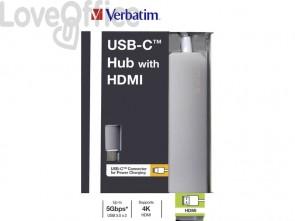 Hub USB-C 2 Porte USB 3.0 Verbatim HDMI  49540