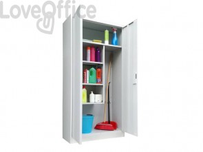 Armadio porta scope KUBO due ante 90x41x181,5 cm grigio PS /90