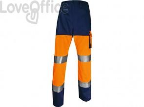 Pantaloni da lavoro DELTA PLUS ad alta visibilità - classe 2 - 5 tasche - argento arancio fluo-blu - L - PHPA2OMGT