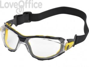 Occhiali Piton monoblocco Delta Plus policarbonato nasello integrato montatura nylon trasparente - PACAYSTIN