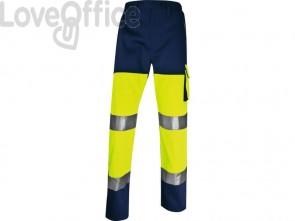 Pantaloni da lavoro DELTA PLUS ad alta visibilità - classe 2 - 5 tasche - argento giallo fluo-blu - L - PHPA2JMGT