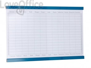 Planning annuale magnetico SGS 90x60 cm. bianco con rigature blu petrolio GR 452