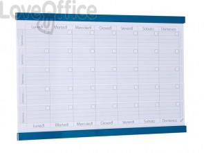 Planning mensile magnetico SGS 90x60 cm. bianco con rigature blu petrolio GR 453