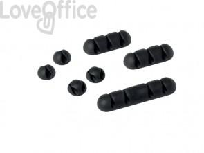Clip fermacavi adesiva DURABLE CAVOLINE CLIP MIX grafite diversi formati - 504137 (conf. da 7)