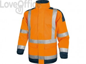 Giacca da lavoro Delta Plus Parka Easy View c/zip imperm. - Cl.3 - 4 tasche - argento arancio fluo-blu - M - EASYVOMTM