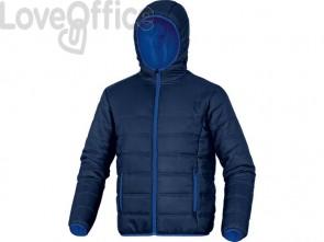 Piumino da lavoro Delta Plus Doon chiusura zip - cappuccio fisso -2 tasche poliammide blu-azzurro - XL - DOONBMXG