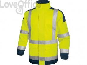 Giacca da lavoro Delta Plus Parka Easy View c/zip imperm. - Cl.3 - 4 tasche - argento giallo fluo-blu - L - EASYVJMGT