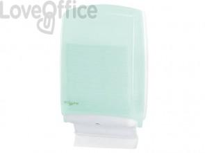 Distributore maxi di carta asciugamani in fazzoletti QTS in PPL con capacità 500 foglietti verde opalino - E-FO/1RN-S