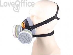 Semi maschera Delta Plus in PPL extra comfort predisposta per 2 filtri (non inclusi) nero-grigio - M6400EGT