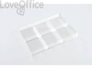 Divisorio per cassettiera TECNOSTYL in acrilico a 6 scomparti trasparente K6ACRD040