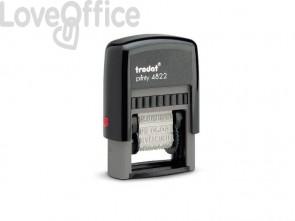 Timbro polinome con 12 diciture commerciali TRODAT PRINTY 4822 in plastica blu - 74051