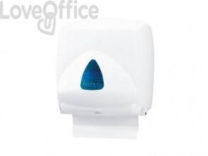 Distributore mini di carta asciugamani in fazzoletti QTS in ABS capacità 300 foglietti bianco vetrino blu IN-FO2/WRN
