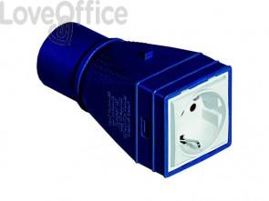 Adattatore con spina industriale legrand con 1 presa universale blu - bianco 52106