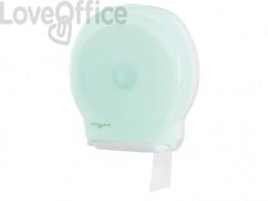 Distributore maxi di carta igienica jumbo QTS in PPL ccon capacità massima Ø 30 cm verde opalino - E-TO/1S-S