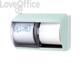 Distributore di carta igienica doppio rotolo QTS in ABS con capacità massima Ø 13 cm verde opalino - E-TO/OD-S