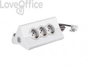Multipresa da scrivania bticino con cavo da 2 m, 3 prese P30 e 2 prese USB bianco S3713DBU